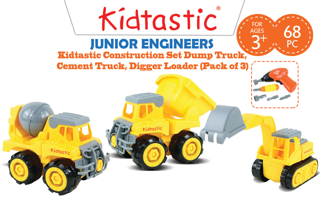 Kidtastic Construction Vehicle Take Apart Set (68 pieces): Dump Truck, Cement Truck & Digger