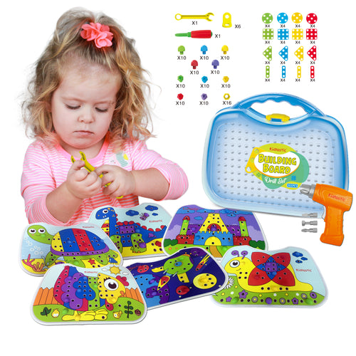 Kidtastic Screw Puzzle Peg Set (203 pcs) 3D Puzzle Toy & Toddler Peg Board Set