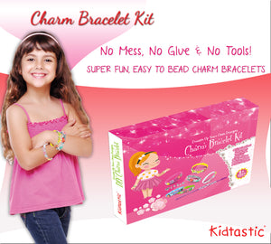 Kidtastic Bracelet Making Kit - 12 Bracelets with Letters, Flowers, & Symbols (208 pcs)