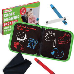 Kidtastic Drawing Chalk Board with 6 Pages with 3 Mess-Free Chalk
