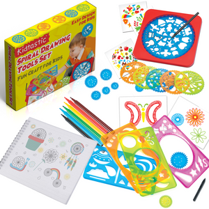 Kidtastic Spiral Drawing Kit – Design-Your-Own Stencil Pattern Artworks with A4 Paper Sketch Pad