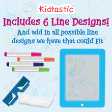 Kidtastic LED Drawing Board – Glow in The Dark, No Mess, Learning Tablet – with 6 Children Art Designs