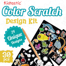 Kidtastic Scratch Art 24 Original Full Color Illustrations - 30 Piece Rainbow Scratch Pads