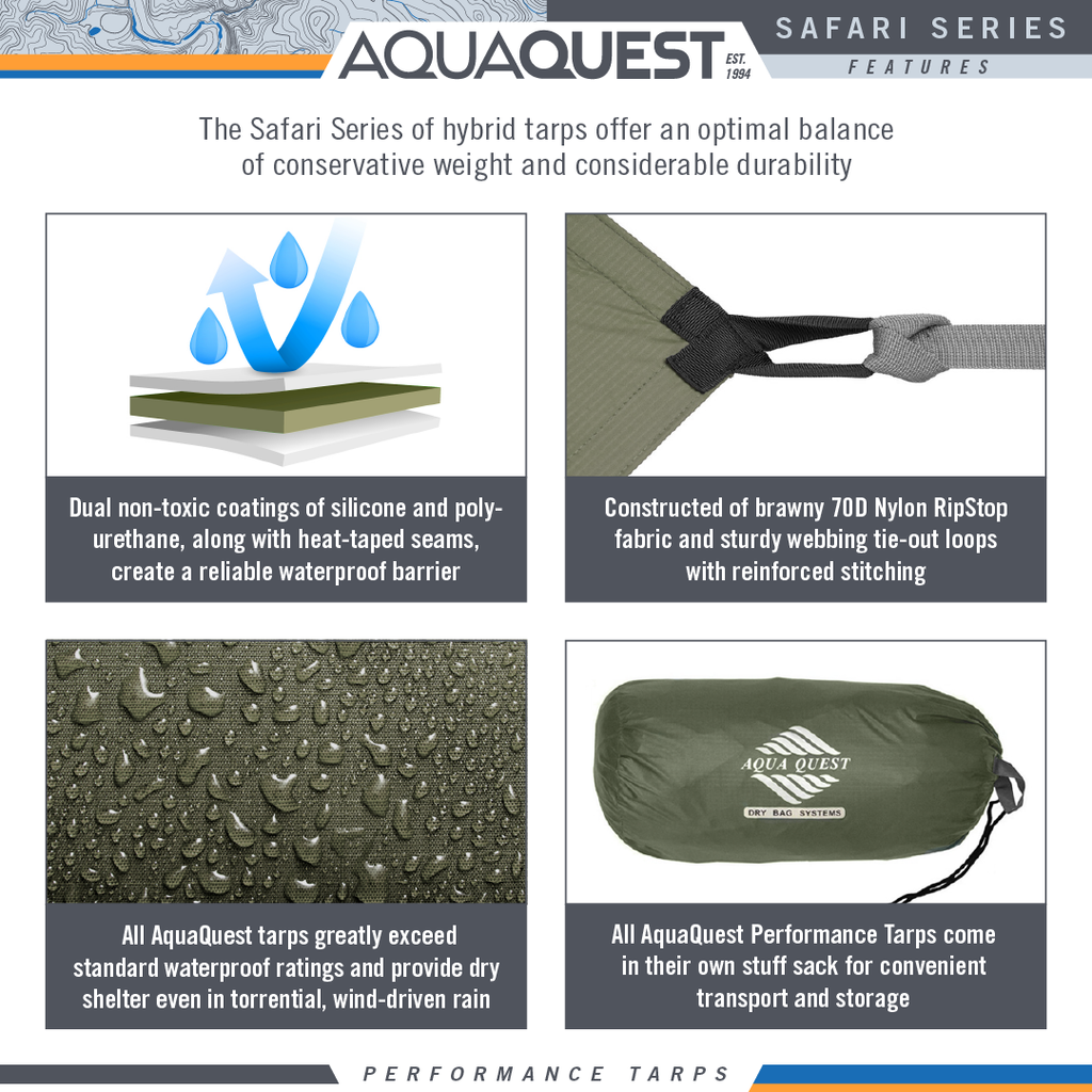 Safari Sil Tarp - Extra Large (20 x 13 ft) - Aqua Quest Waterproof