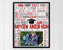 framed print, 8th grade class picture with school name and kids' names in red and black