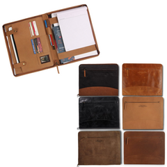 open leather portfolio with paper and pens, 6 different colors of the leather portfolio