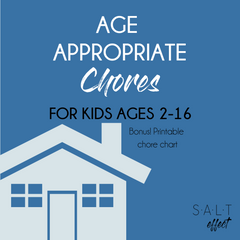 Free printable age appropriate chores for kids 2-16 and free printable chore chart