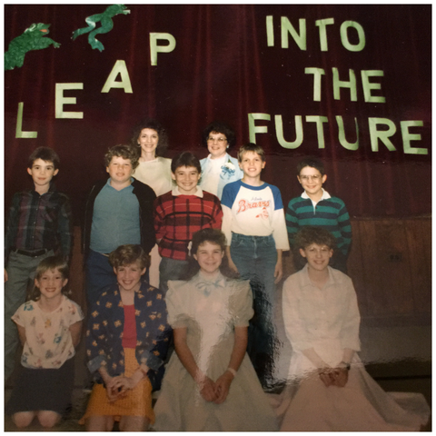 Picture of a teacher and gifted students from the 80s