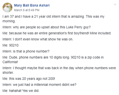 FB Post about Luke Perry and 90210 between Generation X and Millennials
