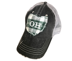 Green plaid Ohio Lid- Ohio Hat - Shelley Lou's Lids - SALT effect - Mother's Day 2020 - Mother's Day 2020 gift list - gifts for mom - Ohio small business - Columbus small business - shop small in Ohio - shop local in Columbus