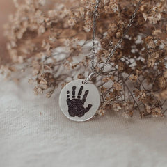 Handprint necklace from Mountain Feather Designs - SALT effect - Mother's Day 2020 - Mother's Day 2020 gift list - gifts for mom - Ohio small business - Columbus small business - shop small in Ohio - shop local in Columbus