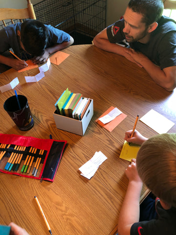Kristie's kids writing thank you notes