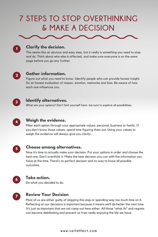 SALT effect - How To Stop Overthinking and Make A Decision - Pinterest