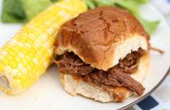 Slow Cooker Shredded BBQ Beef Sandwiches from Thriving Home