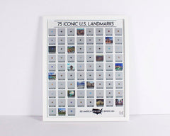 US Landmarks scratch off map leaning against a white wall
