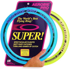 2 Aerobie ring frisbees, blue and green