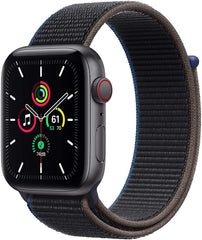 Space Gray Apple Watch SE with gray sport loop