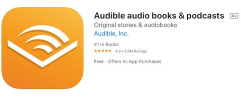 Audible app from the iOS app store, yellow square with white book icon inside