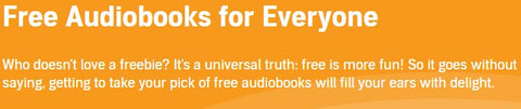 Free Audiobooks for everyone (written in white letters on a bold background)