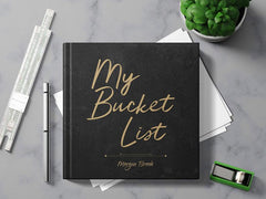 black square journal with My Bucket List in gold lettering