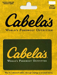 Cabela's gift card, green card with yellow script
