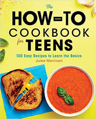 How-to Cookbook for Teens cover, yellow background with a grilled cheese sandwich and bowl of tomato soup