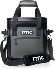 RTIC soft sided cooler, black and gray with handles and shoulder strap