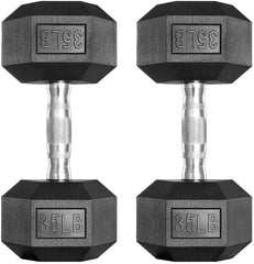 two 30 pound dumbbells, hex with rubber coating