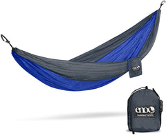 Eno double hammock, royal blue and gray with pouch