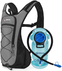 hydration backpack, gray and black with blue bladder