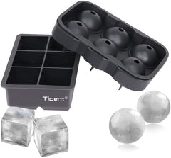 silicone ice cube trays, black, one for 6 squares, one for 6 spheres
