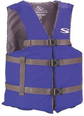 blue life jacket with three hooks and straps