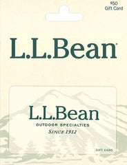 LL Bean gift card, pale yellow with green writing