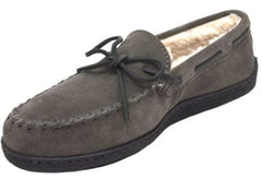 dark gray suede moccasins with sherpa lining