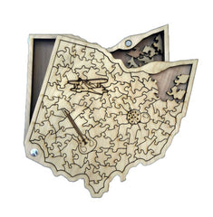 State of Ohio wooden jigsaw puzzle, natural wood, on white background