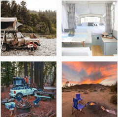 4 images from Outdoorsy instagram page, 4 camping scenes in different settings