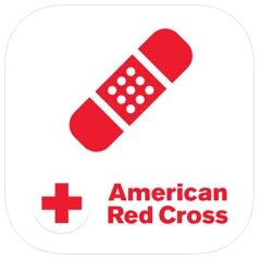 Red cross app, white square, red bandage and cross, words American Red Cross