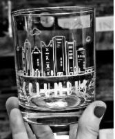 rocks glass etched with Columbus skyline, black and white photo