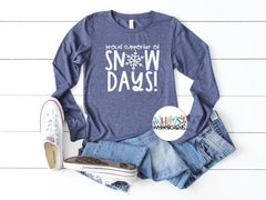 Proud Supporter of Snow Days! - Holiday Tees for Teachers - Christmas T-shirts for teachers