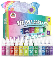 Tie Dye Party Kit, image of tie dyed box and 14 colored bottles, 3 tie dyed tshirts