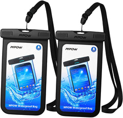 2 waterproof phone pouches, black