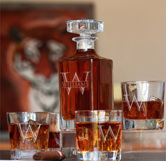 custom whiskey decanter set, 4 rocks glasses and decanter, etched W on the front