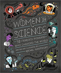 Women in science book, black cover with white letters, colorful drawn images of scientists