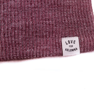 Maroon/White 'Love for Kelowna' Knit Beanie Toque