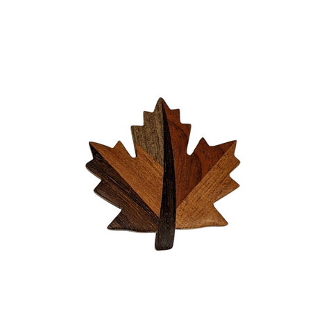 Wooden Maple Leaf Magnet