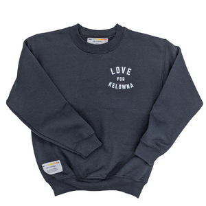 Black 'Love for Kelowna' Kids Crewneck