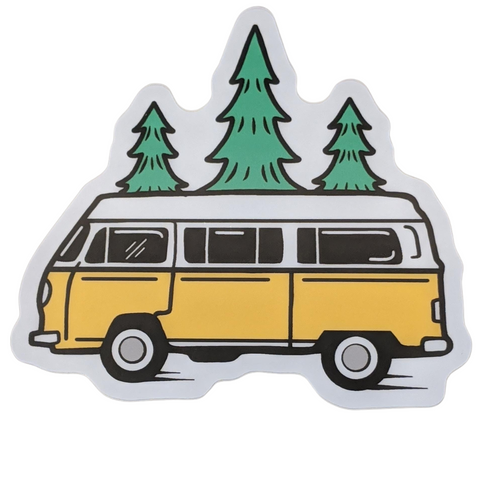 Bus and Trees Vinyl Sticker
