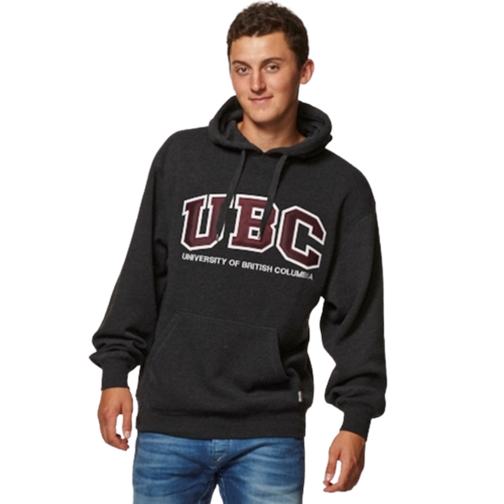 Charcoal/Maroon UBC Basic Fleece Twill Hoodie