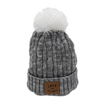 Grey/White 'Love for Kelowna' Knit Pom Pom Toque