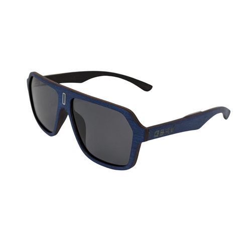 Dark Blue Wood Shield Sunnies